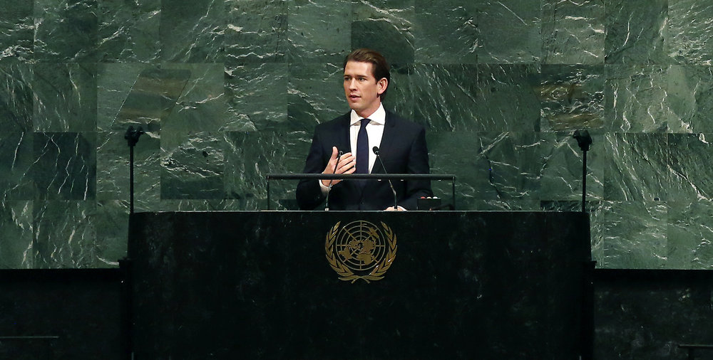 Foreign Minister Sebastian Kurz addressing the U.N. General Assembly on September 19, 2017, Photo: Dragan Tatic