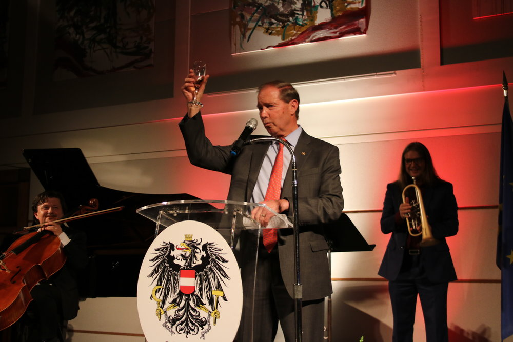 U.S. Senator Tom Udall toasts to Austria