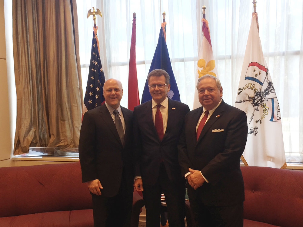 From left: Mayor Mitch Landrieu, Ambassador Wolfgang Waldner, Consul Philip Lorio III.