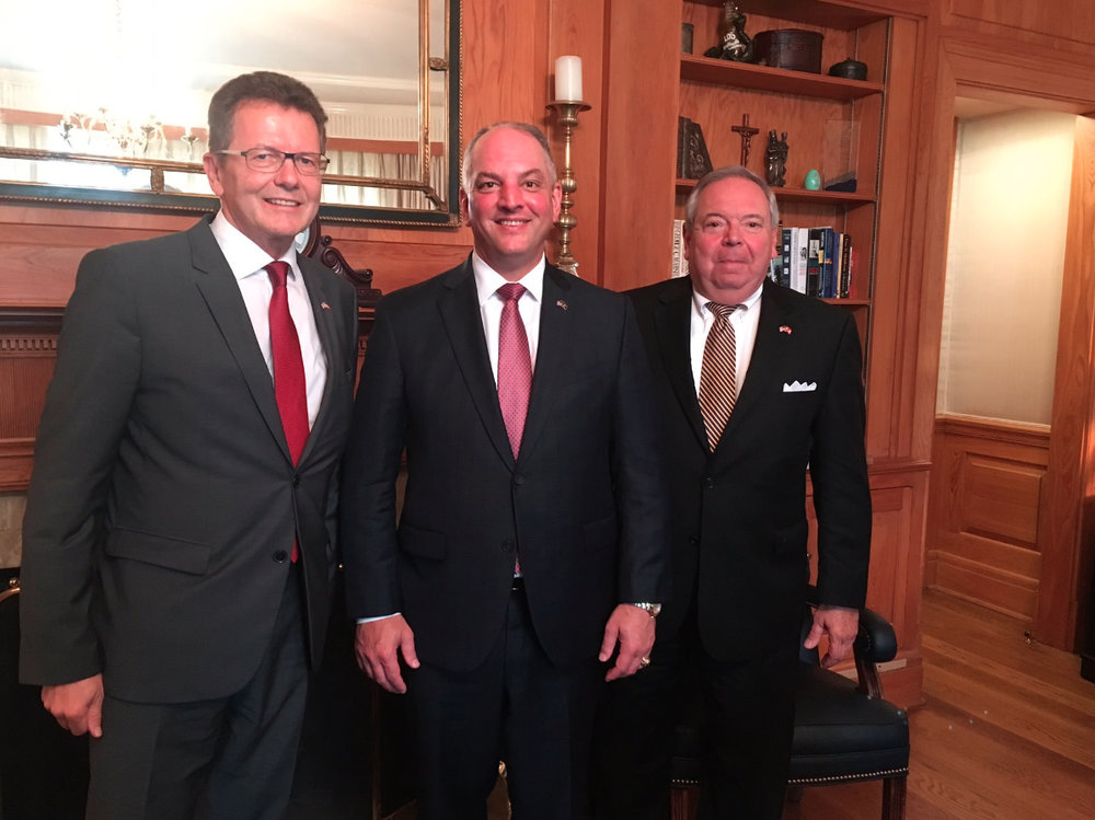 From left: Ambassador Wolfgang Waldner, Governor John Bel Edwards, Consul Philip Lorio III.