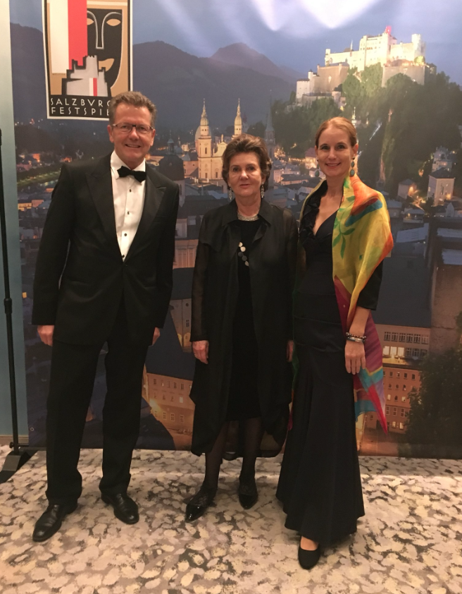 from left: Ambassador Wolfgang Waldner, Salzburg Festival President Helga Rabl-Stadler, Gudrun Faudon-Waldner, wife of the Ambassador