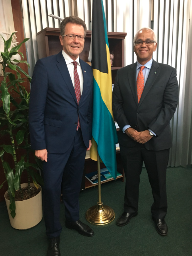 Austrian Ambassador Wolfgang Waldner with Bahamian Tourism and Aviation Minister Dionisio D'Aguilar
