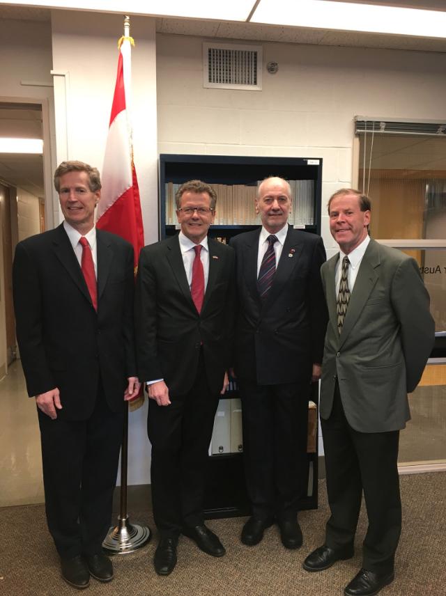 (From left) Austrian Honorary Consul Dr. Kurt Witte, Ambassador Wolfgang Waldner, Professor Franz Szabo, Professor Howard Louthan.