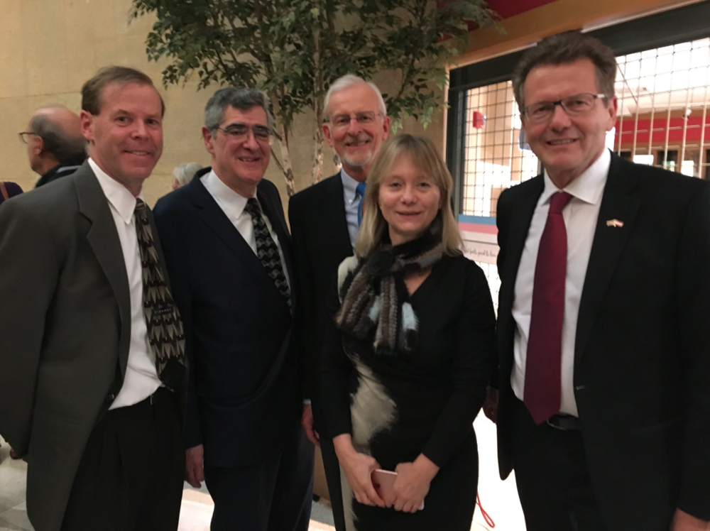 (From left) Professor Howard Louthan (Director, Center for Austrian Studies), Professor Gary Cohen (Director Emeritus, Center for Austrian Studies), Professor David Good (Director Emeritus, center for Austrian Studies), Christine Moser (Director, Austrian Cultural Forum New York), Ambassador Wolfgang Waldner.