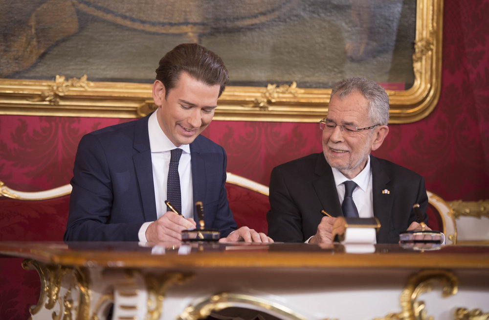 Chancellor Sebastian Kurz (left) with President Alexander Van der Bellen (c) BKA, Regina Aigner