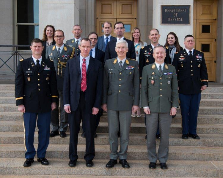 The Austrian military delegation meets with their U.S. counterparts at the Department of Defense