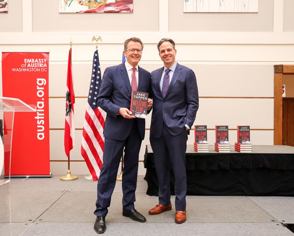From left: Ambassador Wolfgang Waldner, Jake Tapper. Photo: Tessa Houstoun