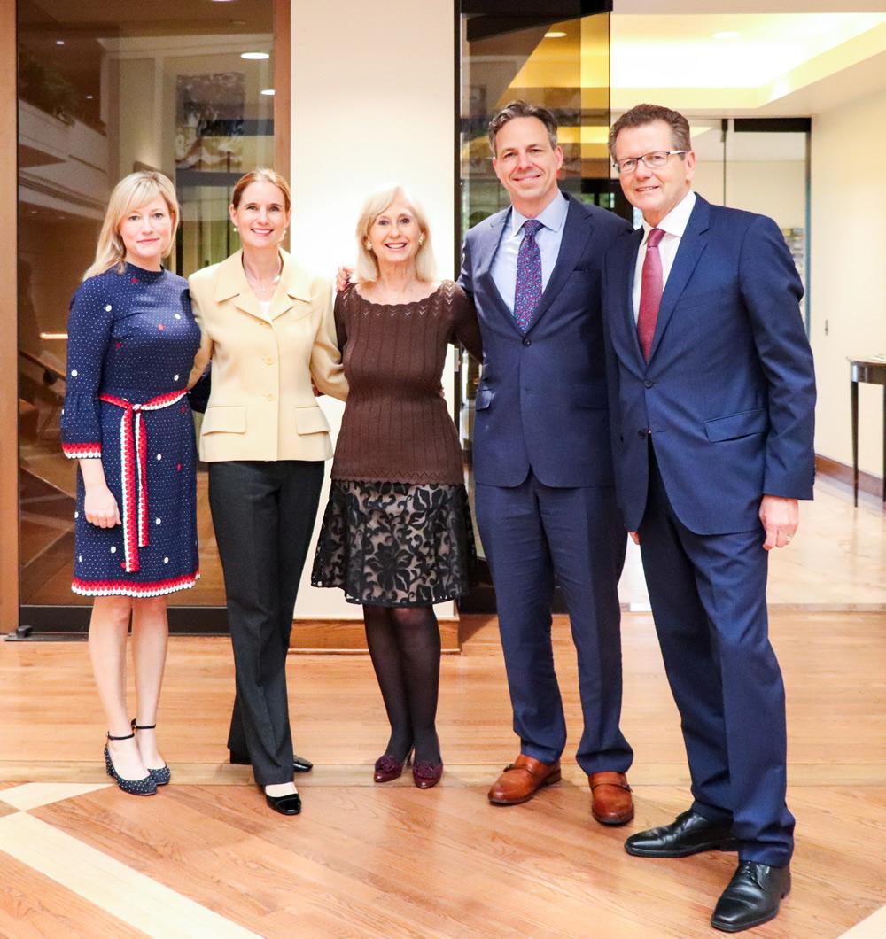 From left: Jennifer Tapper, Gudrun Waldner-Faudon, Willee Lewis (Executive Vice President PEN/ Faulkner), Jake Tapper, Ambassador Wolfgang Waldner. Photo: Tessa Houstoun