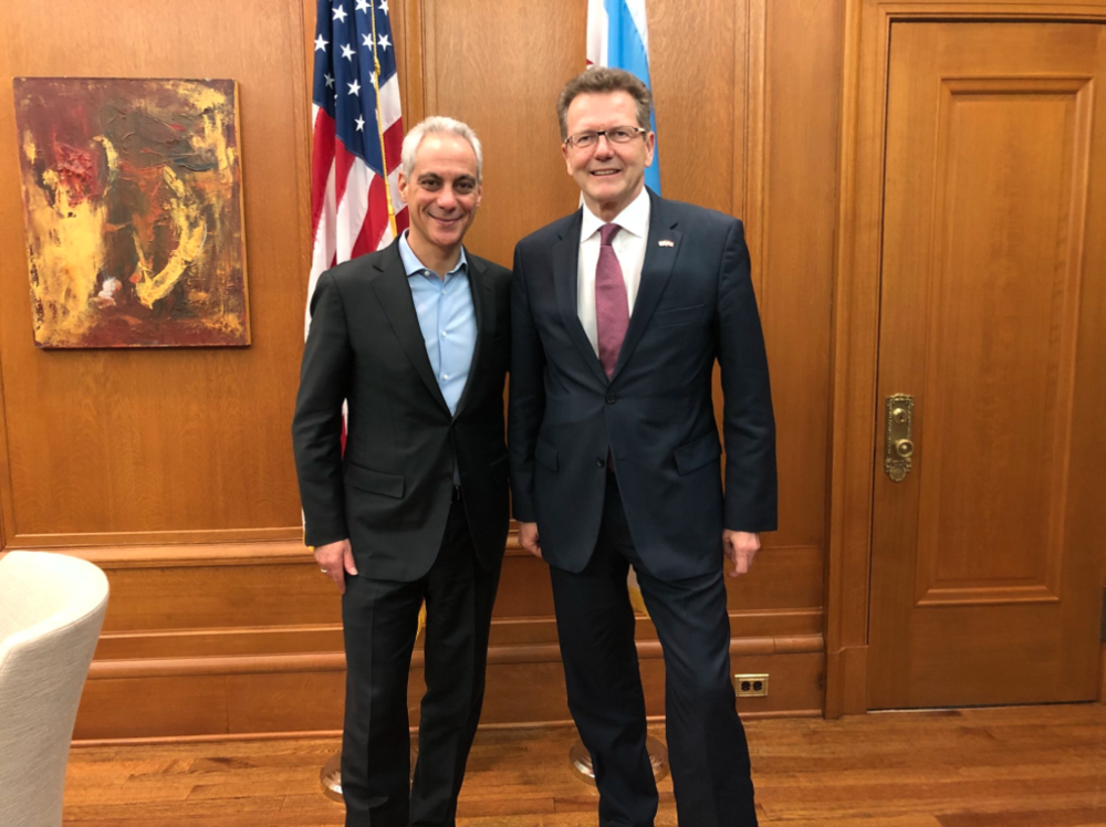 Ambassador Waldner meets with the Mayor of Chicago, Rahm Emanuel