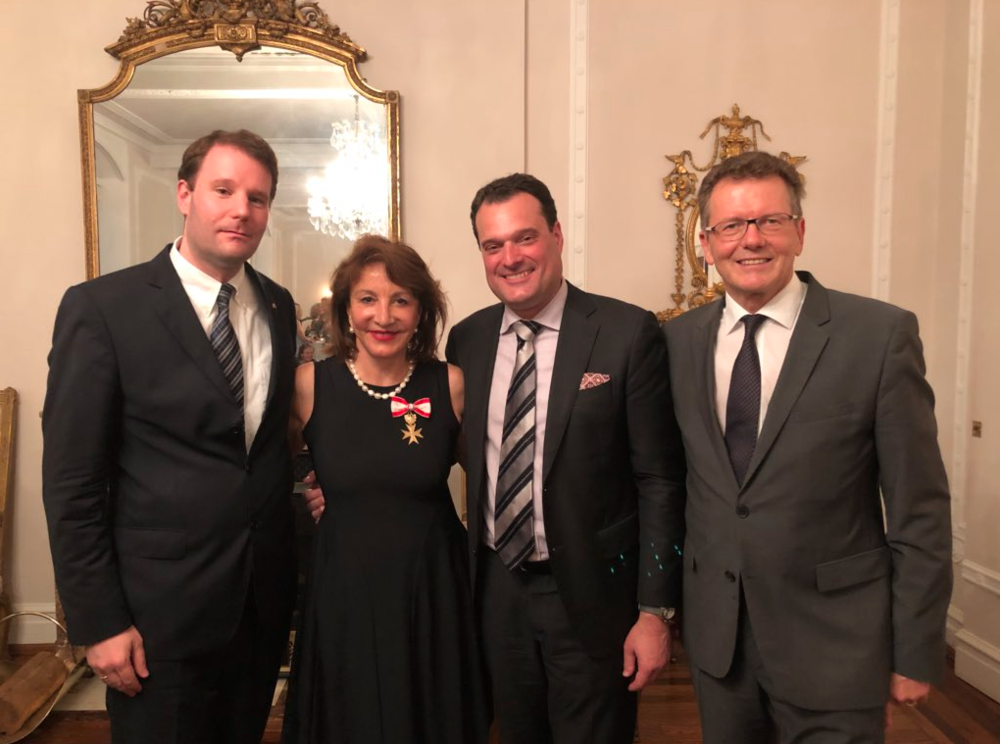 from left: Andreas Stauber (Austrian Trade Commissioner in Washington, DC), Chef Nora Pouillon, Michael Friedl (Austrian Trade Commissioner in New York City), and Austrian Ambassador Wolfgang Waldner
