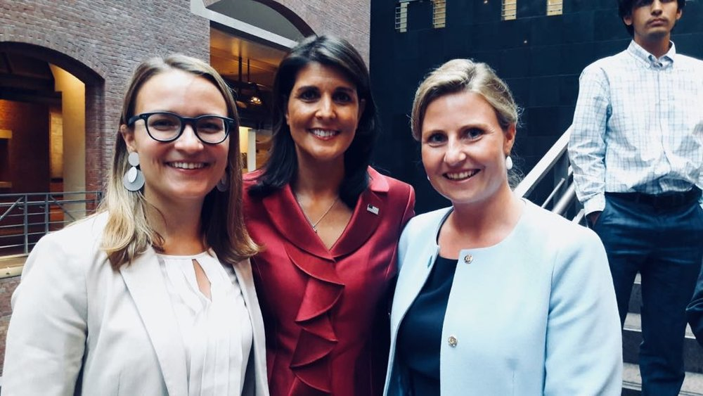 From left: Natalie Herold, Ambassador Haley, Susanne Raab.