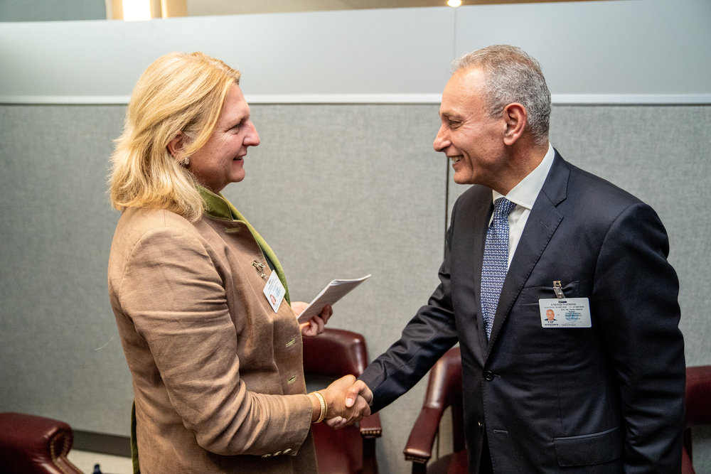 Foreign Minister Karin Kneissl meets with Secretary-General of the Union for the Mediterranean (UfM), Nasser Kamel (c) Austrian Ministry of Foreign Affairs
