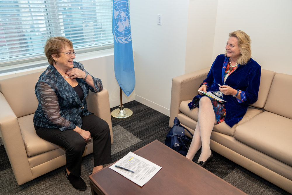 Foreign Minister Karin Kneissl meets with UN High Commissioner for Human Rights, Michelle Bachelet (c) Austrian Ministry of Foreign Affairs