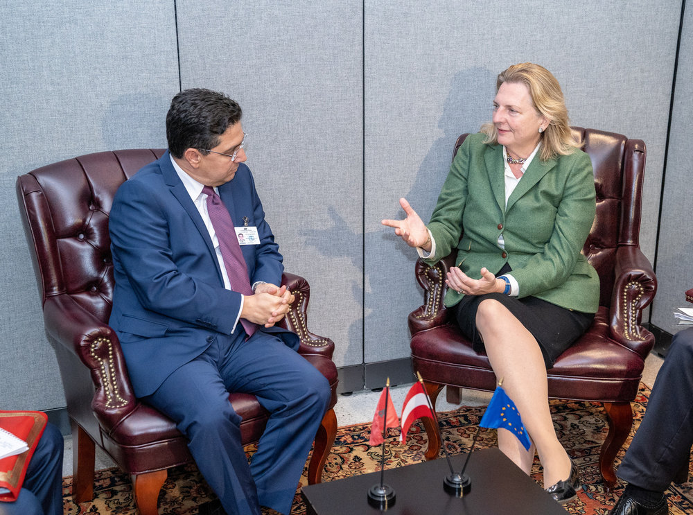 Foreign Minister Karin Kneissl meeting with her counterpart from Marocco, Nasser Bourita (c) Austrian Ministry of Foreign Affairs