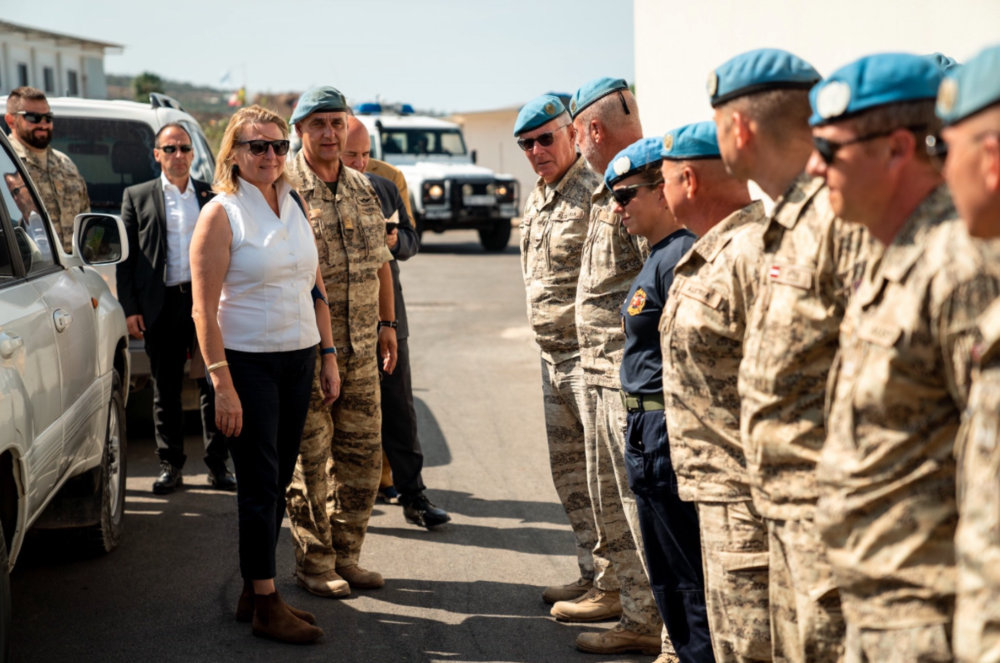 Austrian Foreign Minister visits the contingent of Austrian soldiers, who have been contributing to the peacekeeping and stabilizing efforts of UNIFIL since 2011