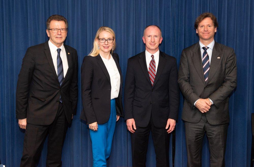 From left to right: Austrian Ambassador Wofgang Waldner, Minister Margarete Schramböck, Deputy U.S. Trade Representative Jeff Gerrish, and U.S. Ambassador to Austria Trevor Traina (c) Philipp Hartberger