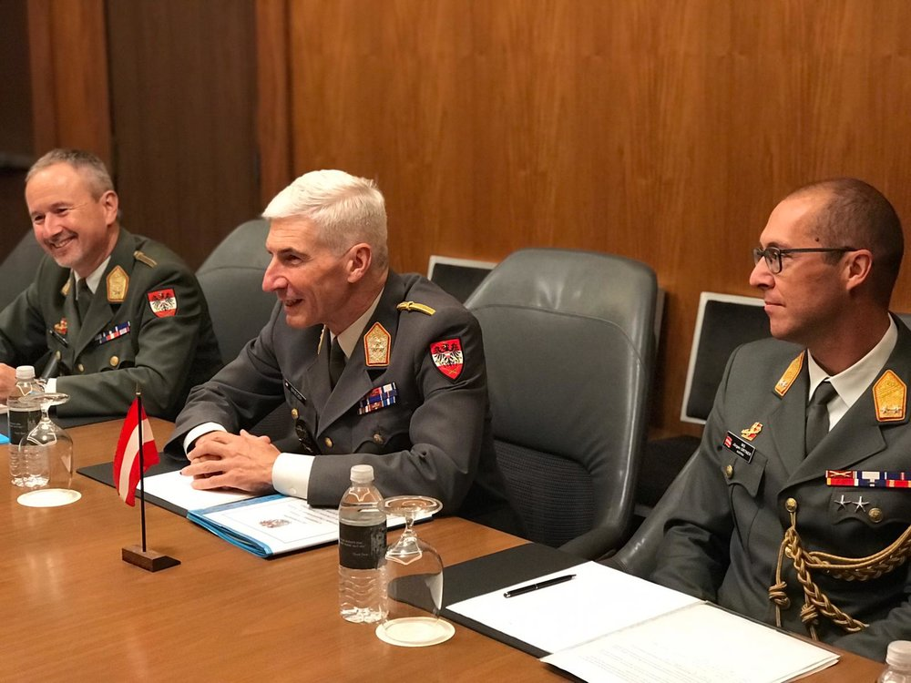 from left: Brigadier General Reinhard Trischak, Austrian Chief of Defense General Brieger, and Major General Jürgen Ortner, Military Attaché in Washington, DC