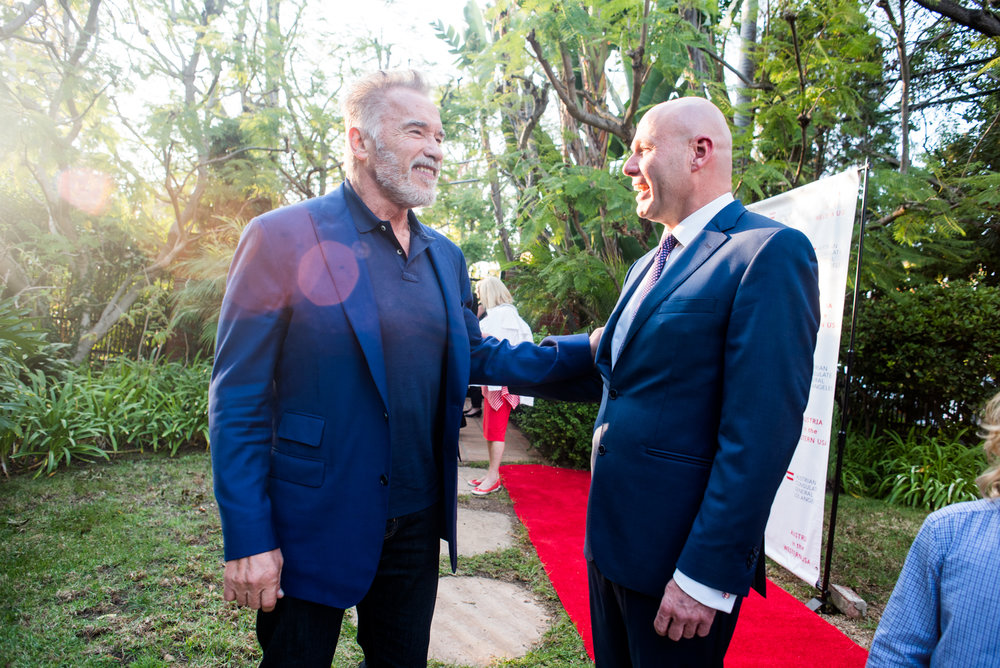 Former Governor of California Arnold Schwarzenegger with Austrian Consul General Andreas Launer