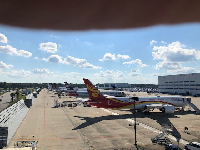 Looking over the Boeing flightline – filled with planes painted and ready for delivery around the world.
