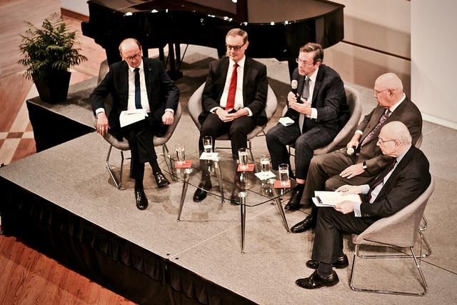 From Left: MEP Othmar Karas, Ambassador David O'Sullivan, Professor Daniel S. Hamilton, Rep. Robert Walker, Ambassador Stuart Eizenstat.