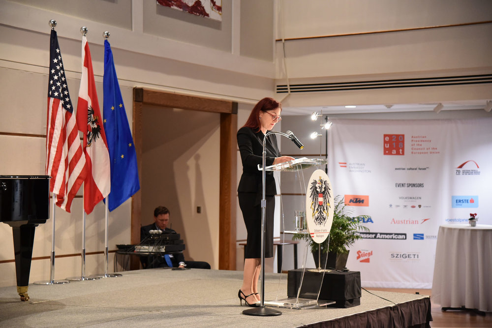 Hannah Lessing delivers a talk at the Austrian Embassy