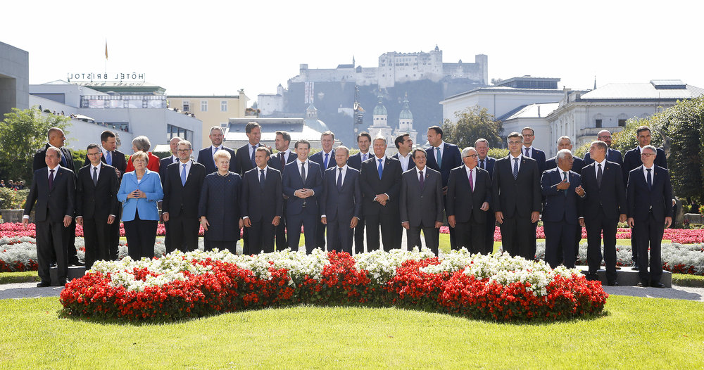 Informal Summit of Heads of State or Government on September 20, 2018 - Family photo. Picturing Prime Minister Boyko Borissov, Prime Minister Jüri Ratas, Prime Minister Theresa May, Prime Minister Joseph Muscat, Prime Minister Peter Pellegrini, Prime Minister Mark Rutte, Prime Minister Xavier Bettel, Prime Minister Māris Kučinskis, Prime Minister Giuseppe Conte, Prime Minister Alexis Tsipras, Prime Minister Leo Varadkar, Prime Minister Lars Løkke Rasmussen, Prime Minister Mateusz Morawiecki, Prime Minister Viktor Orbán, Prime Minister Charles Michel, Prime Minister Pedro Sánchez Pérez-Castejón (last row, from the left to the right), Prime Minister Stefan Löfven, Prime Minister Marjan Šarec, Federal Chancellor Angela Merkel, Prime Minister Juha Sipilä, President Dalia Grybauskaitė, President Emmanuel Macron, Federal Chancellor Sebastian Kurz, President of the European Council Donald Tusk, President Klaus Werner Iohannis, President Nicos Anastasiades, President of the European Commission Jean-Claude Juncker, Prime Minister Andrej Plenković, Prime Minister António Costa, Prime Minister Andrej Babiš and Secretary-General Jeppe Tranholm-Mikkelsen (first row, from the left to the right). Copyright Federal Chancellary of Austria/Martin Votava