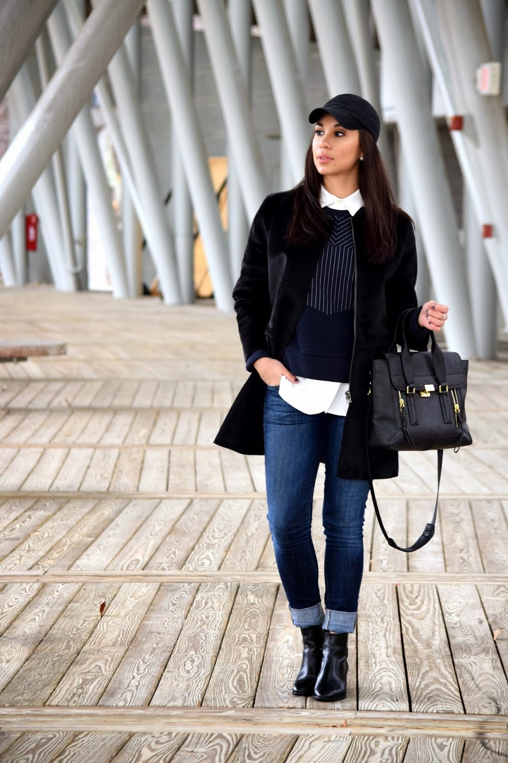 Madewell, Mel in Chanel, booties, Black 'N Blue, black and navy, baseball cap, baseball hat, black, 3.1 Phillip Lim, Pashli Tote, Ames boot, Citizens of Humanity, skinny jean, distressed, baseball game, amphitheater, sweatshirt, J. Crew, stripes, cotton top, Mel, Melissa de Leon