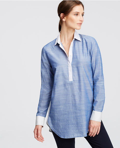 Color block Chambray Boyfriend Shirt