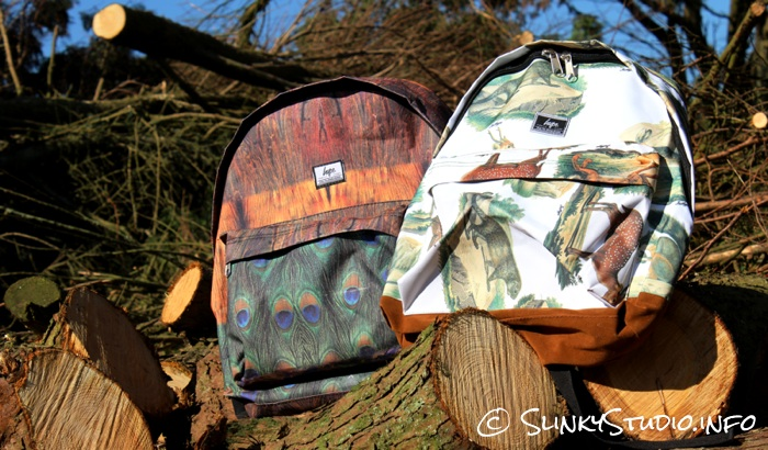 HYPE Backpack Designs laying on cut wood in a woodland.jpg