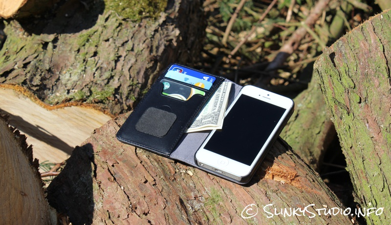 Moshi Overture Wallet Case for iPhone 5:5s on log in forest woodland card & dollar bill money.jpg