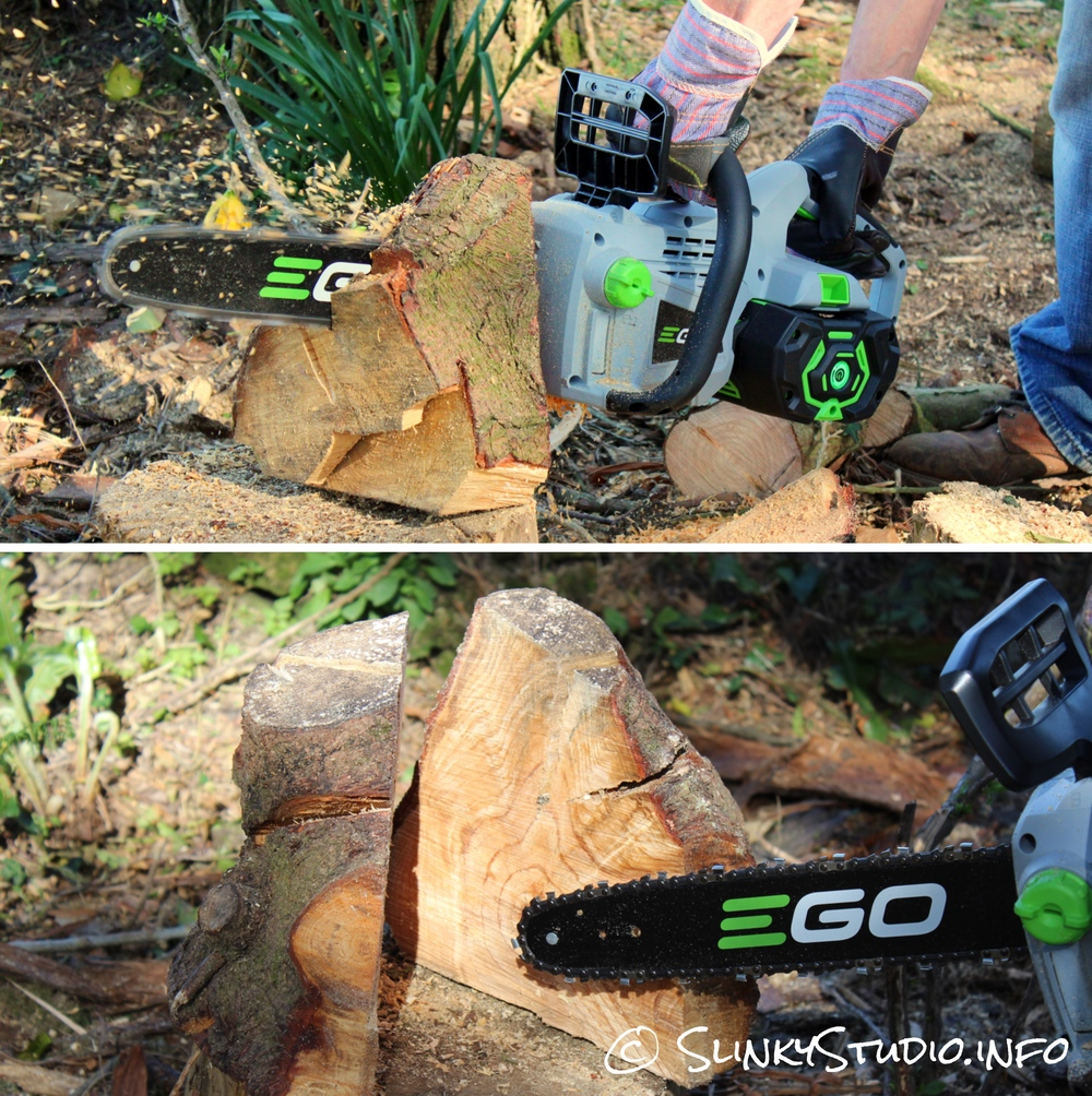 EGO Power+ Cordless Chainsaw Cutting Tree Trunk
