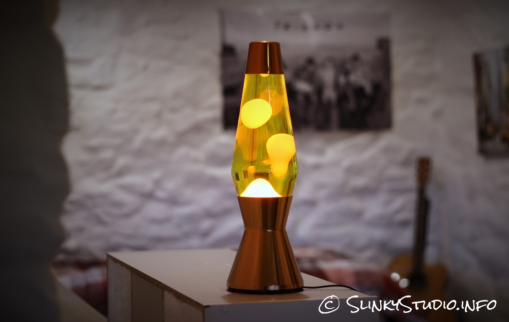 Mathmos Heritage Astro Lava Lamp Copper Full View turned on