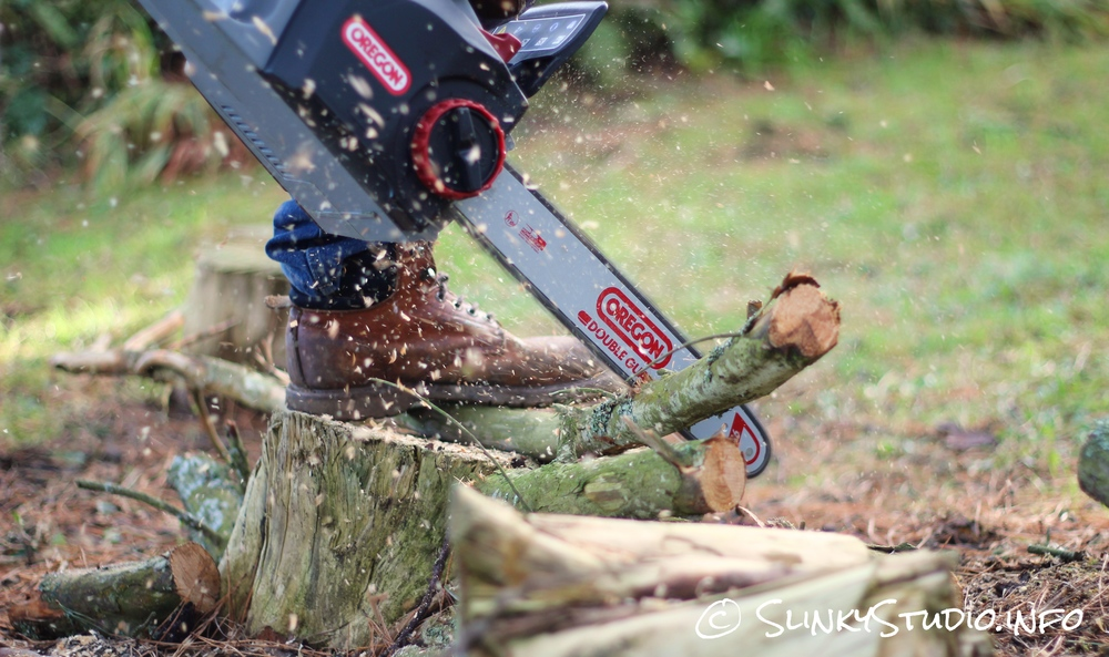 Oregon CS300 PowerNow Cordless Chainsaw Cutting Thin Branch.jpg