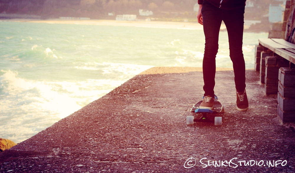 Original Skateboards Apex 40 DiamondDrop Longboard Riding Away from St Ives Cornwall Sea View.jpg