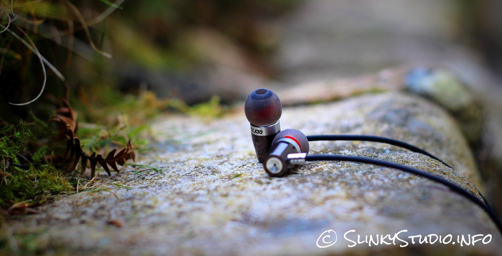 Rock Jaw Alfa Genus V2 Earphones Tip View Laying on Stone.jpg