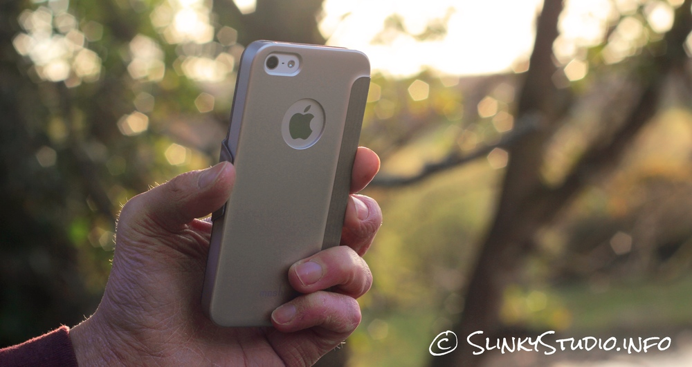 Moshi SenseCover for iPhone 5:5s:SE Rear View in Sunny Woodland.jpg