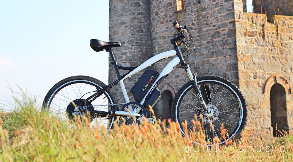 Cyclotricity Stealth eBike Standing Outside Cornwall Tin Mine