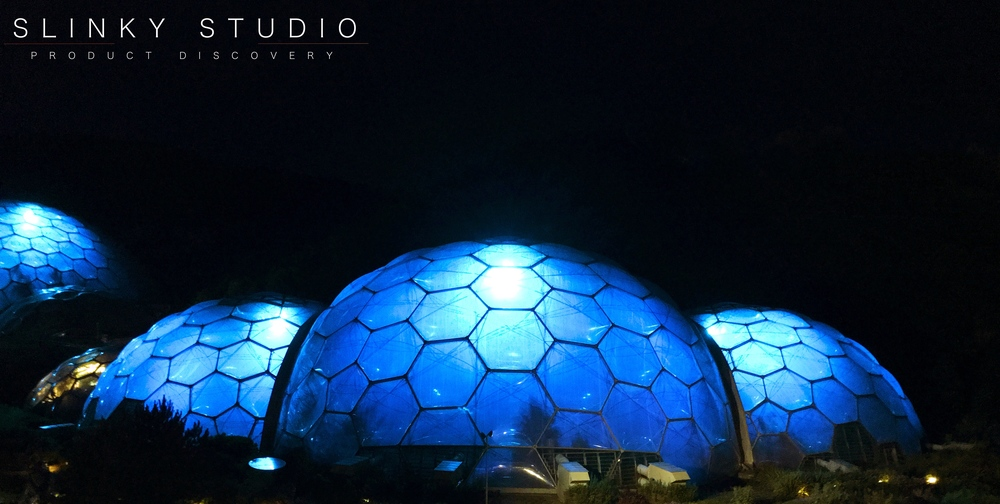 The Eden Project Conrwall Lit Up At Night in Blue.jpg