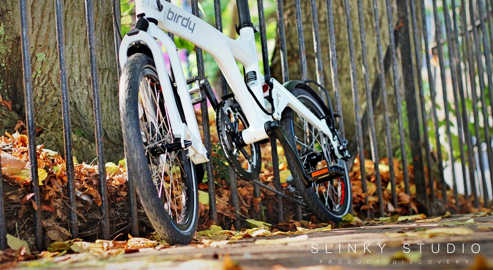 Birdy Speed Folding Bike White Leafy Autumn Path Ground View.jpg