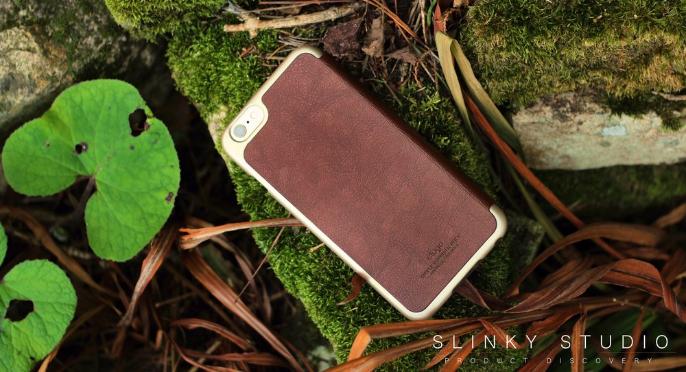 Elago Leather Flip Case for iPhone 6:6s Plus Rear View Lying in Autumnal Scenery.jpg