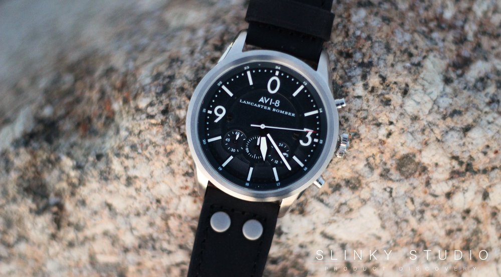 AVI-8 Lancaster Bomber Watch Face Close Up on rock.jpg