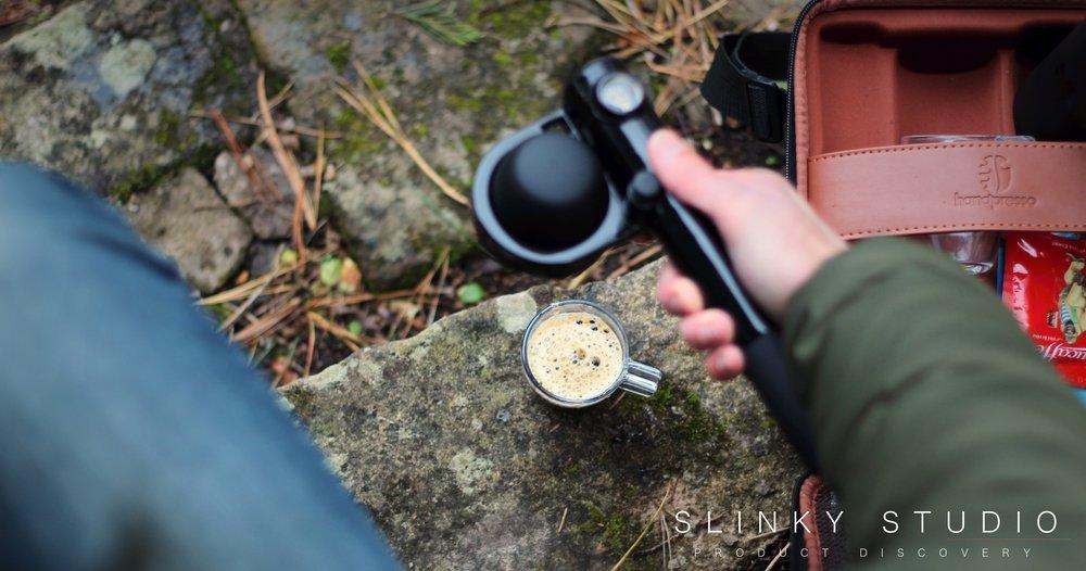Handpresso Pump Christmas Gift Set Making Espresso Above View.jpg