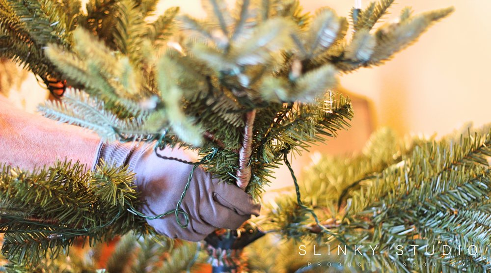 Balsam Hill Fraser Fir Christmas Tree Pulling Down Branches.jpg
