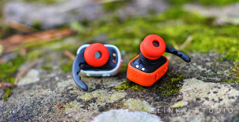 PKparis K'asq Earbuds Orange Silicone Ear Tips on rock.jpg