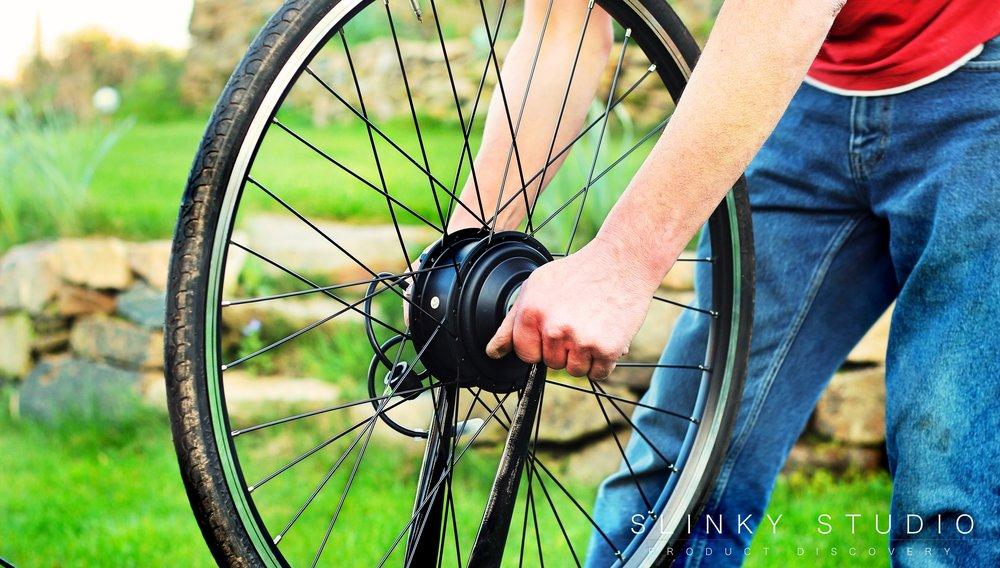 Dillenger eBike Street Legal Conversion Kit Installing Front Motor Wheel.jpg