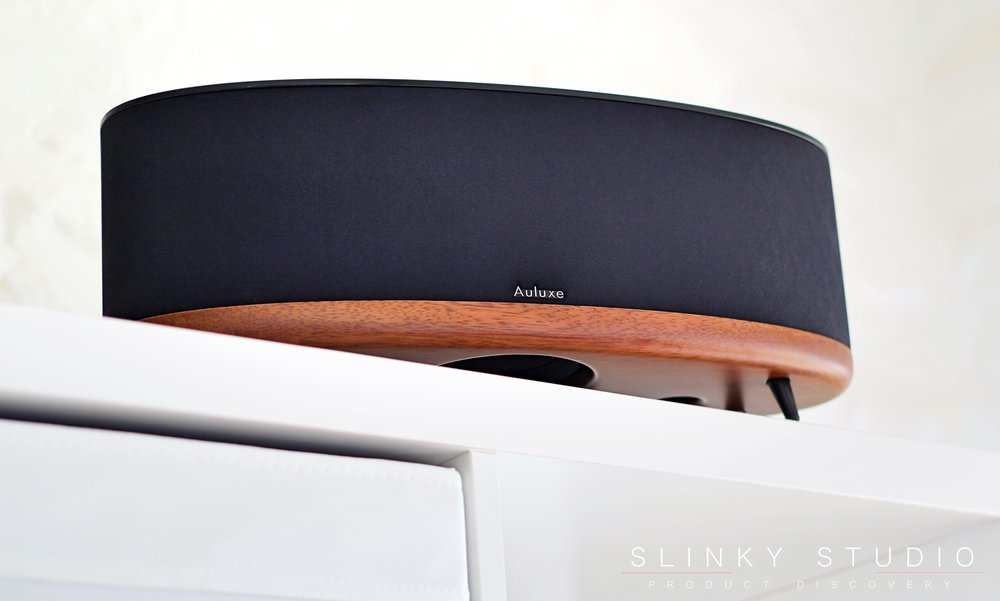 Auluxe Wave E3 Speaker Below View on white shelf.jpg