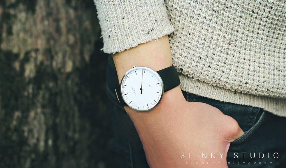 Botta Design Anniversary UNO+ Watch On Wrist in Pocket Jumper.jpg