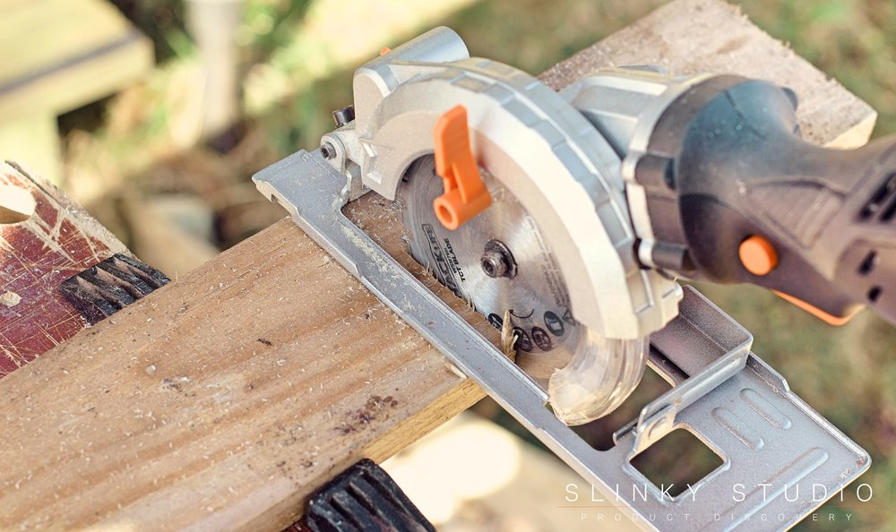 TackLife Mini Circular Saw CSK76AC Above View Cutting.jpg