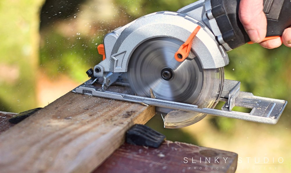 TackLife Mini Circular Saw CSK76AC Close Up Cutting.jpg