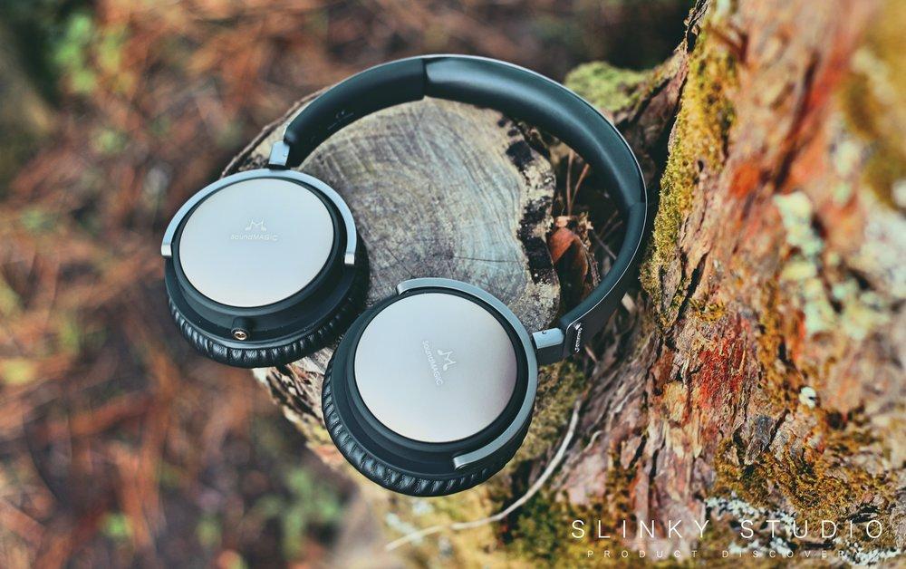 SoundMAGIC Vento P55 Headphones On Tree Stump.jpg